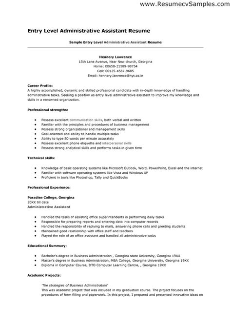Sle Resume For Administrative Assistant Entry Level Resume Exles For Entry Level Entry Level Machinist