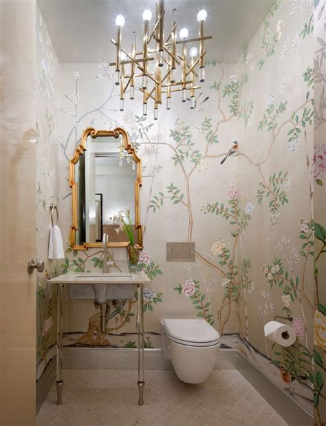 wallpaper powder room powder room with wallpaper home decorating trends homedit