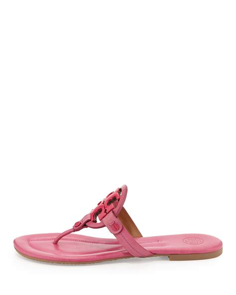 burch pink sandals burch miller 2 logo leather sandal in pink lyst