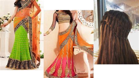 Lehenga Saree Style Draping Lehenga Style Saree Draping With Makeup And Hairstyle For