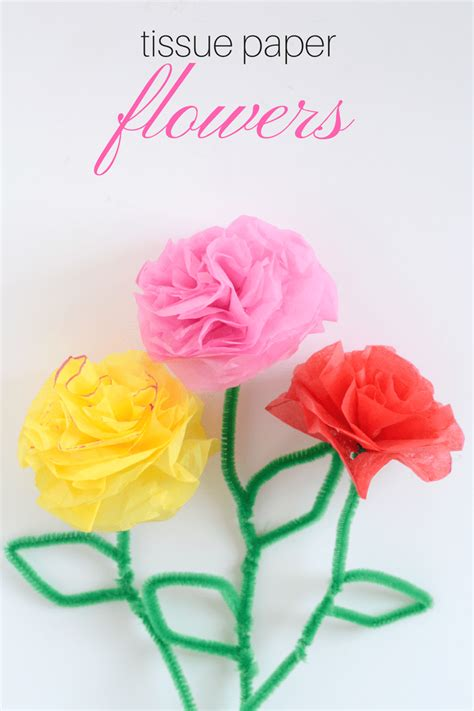 Tissue Paper Flower Craft - diy tissue paper flowers