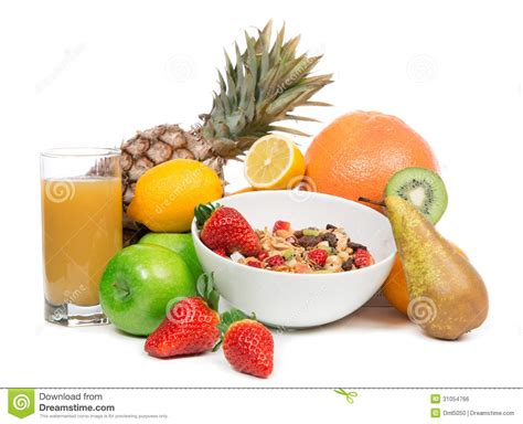 apple muesli and kiwi isolated stock image cartoondealer 7998103