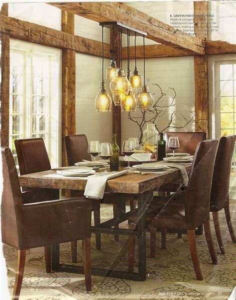Pottery Barn Dining Room With Rustic Glass Pendant Lights Lights In Dining Room