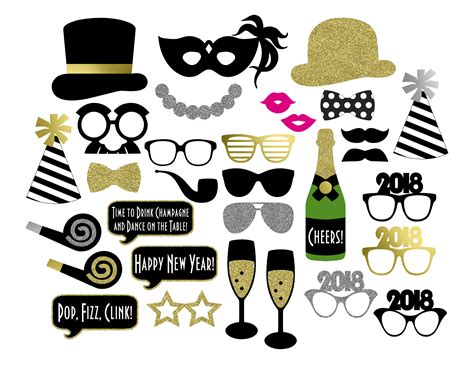 printable photo booth props new year 2018 2018 new year s photo booth props printable instant