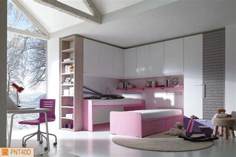 letto con ponte ponte ad angolo con letti duetto rosa