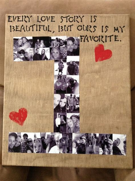Handmade Anniversary Gifts For Him - number photo collage easy diy anniversary gift ideas for