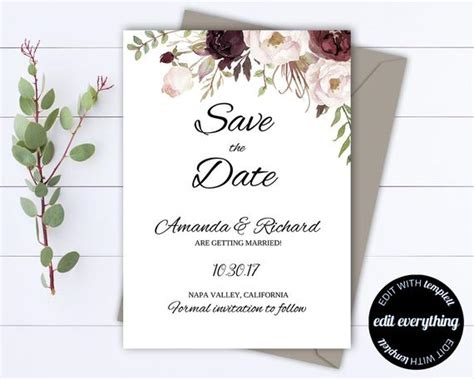 Floral Save The Date Wedding Template Floral Wedding Save Wedding Save The Date Card Templates