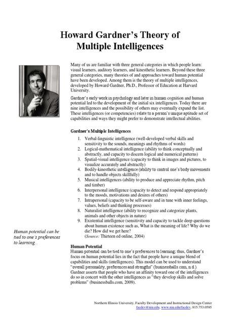 Howard Gardners Theory Of Intelligences Essay by Howard Gardner Theory Intelligences Pdf