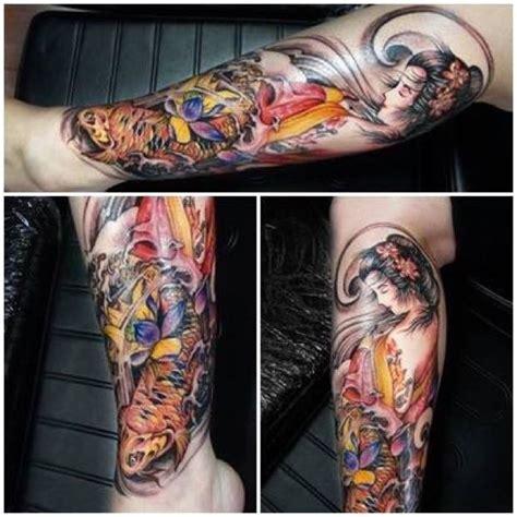 tattoo geisha e carpa gueixa oriental carpa tatuagem com tatuagens tattoo