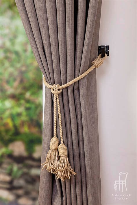 rope tassel curtain tie backs jute and hemp rope tassel nautical curtain tie backs
