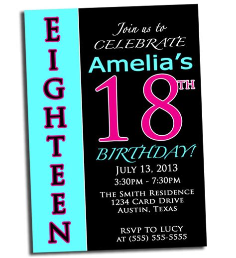 18th birthday pink black and cyan party printable