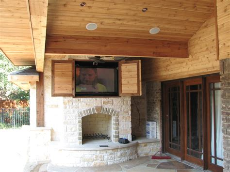 rustic outdoor tv cabinet marvelous stacked rustic fireplace built in