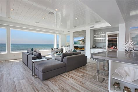 living room beach cottage with wood flooring and sloped ceiling distressed hardwood flooring living room beach with beach