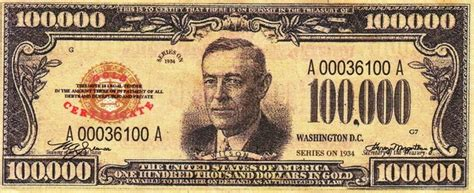 Uang 100 000 Dolar Usa 1934 some interesting facts about paper money 100 000 gold