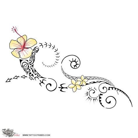island flower tattoo designs of spirit of aloha hawaii custom