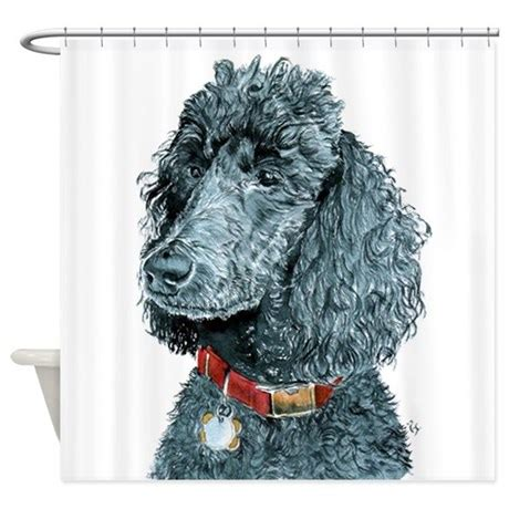 poodle shower curtain black poodle whitney shower curtain by yvonnecarter