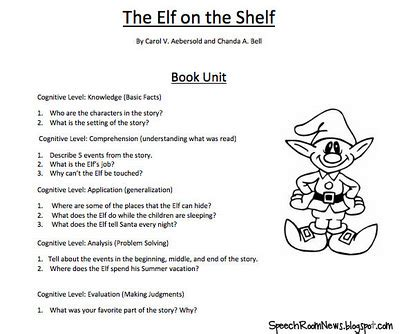 free printable elf on the shelf book elf on the speech shelf speech room news