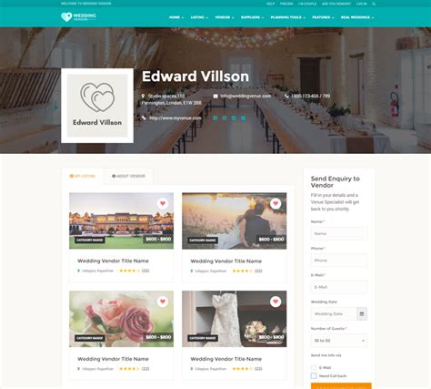 Wedding Vendor Directory Html Responsive Website Template Vendor Website Template