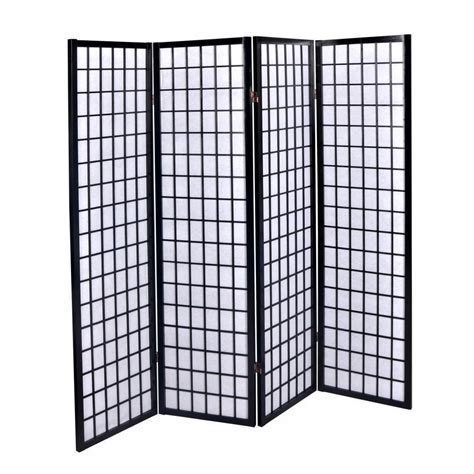 New Black 4 Panel Room Divider Screen Oriental Style Shoji Room Divider Screen