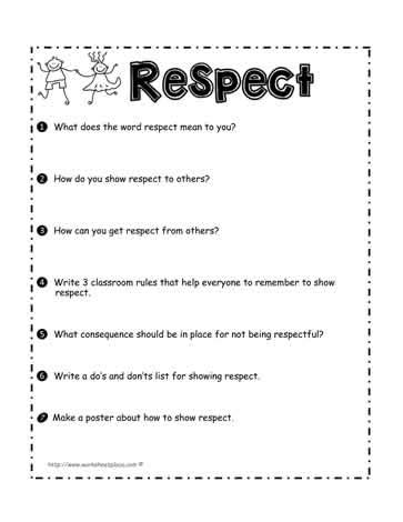 Respect And Responsibility Worksheets by All Worksheets 187 Teaching Children Respect Worksheets