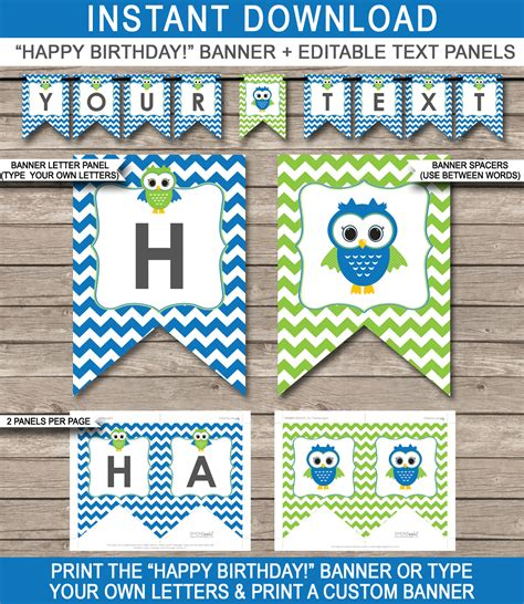 printable happy birthday banner blue blue owl party banner template birthday banner