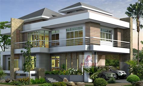 3d exterior view duplex home cottages villa