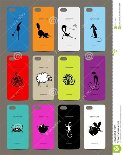 design cover mobile mobile phone cover back 12 funny animals for stock