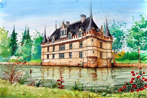 Azay Le Rideaux by Tableau Peinture Dessin Azay Le Rideau Une Toile De