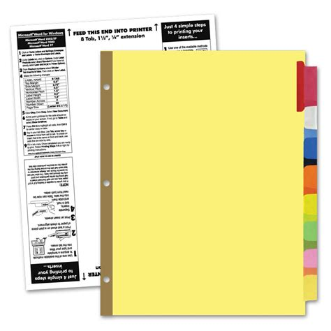 avery 8 tab template blank index divider tabs and blank exhibit indexes book covers