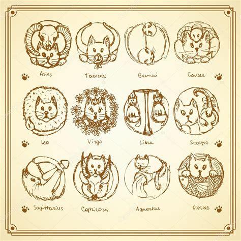 imagenes del estilo retro dibujo gatos los signos del zodiaco en estilo vintage