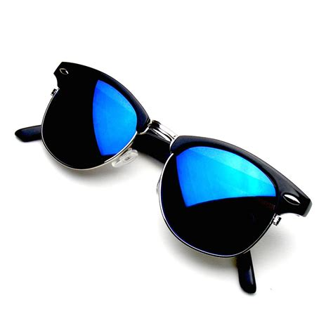 Mirror Sunglasses retro fashion half frame flash mirror semi rimless