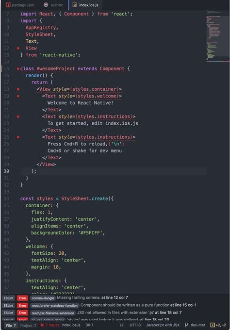 airbnb using react native react nativeにeslint airbnb style を適用した際のビフォーアフター qiita