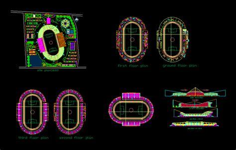 stadium design dwg section  autocad designs cad
