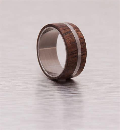 mens wood ring with titanium ring mens wedding band silver
