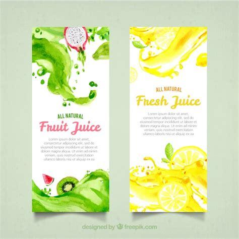 design banner juice fruit juice banners in watercolor style vector free download