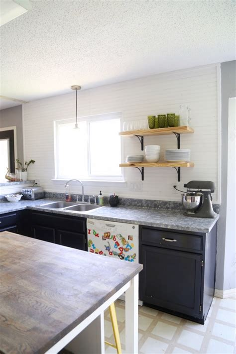 diy open shelving kitchen airy looking diy kitchen open shelving shelterness