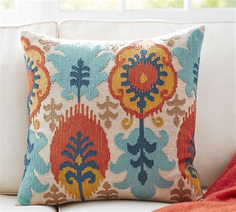 Embroidered Pillow Cover by Leigh Ikat Embroidered Pillow Covers Pottery Barn