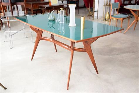 Green Glass Dining Table 1950 S Italian Green Glass And Mahogany Dining Table For Sale At 1stdibs