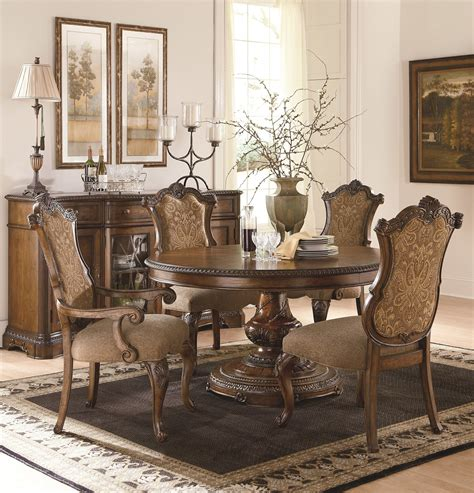 Dining Room Table With Upholstered Chairs by The Pemberleigh Table Dining Room Collection With