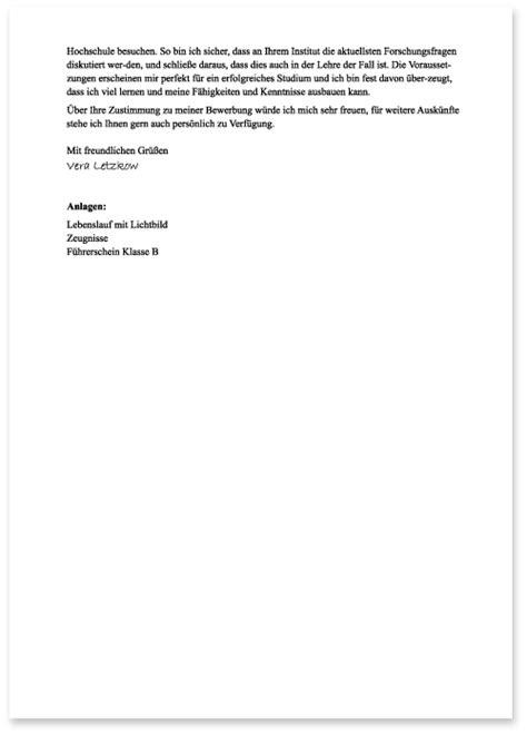 Bewerbungsschreiben Hochschule Die Bewerbung Zum Studium Schriftliche Bewerbung Die