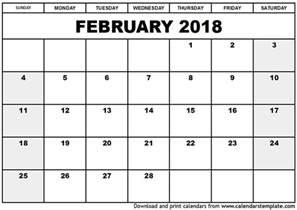 new year 2018 february february 2018 calendar printable template holidays pdf word