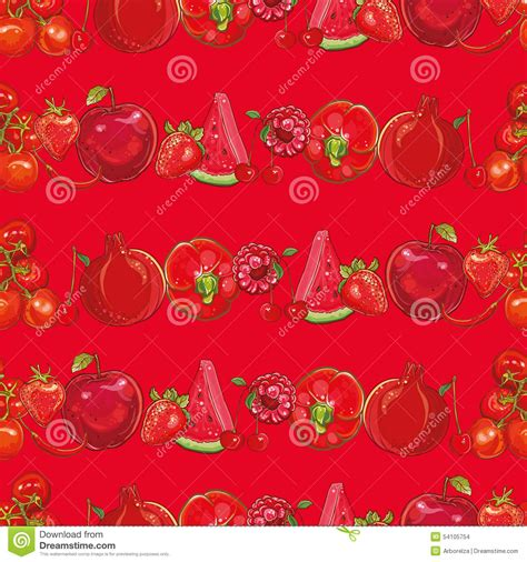 light pattern background vector red fruits and vegetables seamless background stock