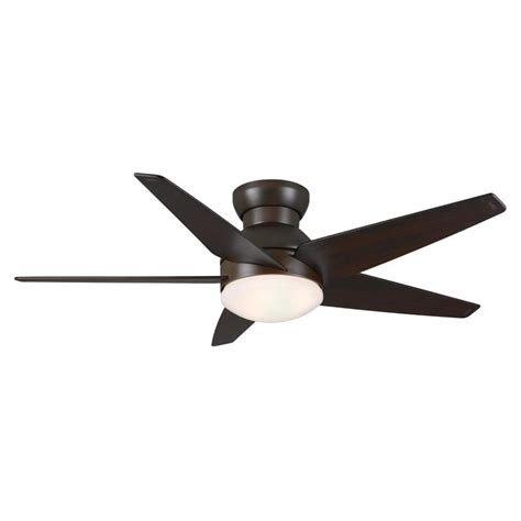 Flush Mount Ceiling Fans With Lights Shop Casablanca Isotope 44 In Brushed Cocoa Flush Mount Ceiling Fan With Light Kit At Lowes