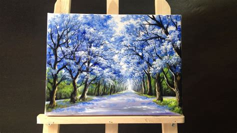 acrylic paint best canvas 49 05 pretty tree line road acrylic painting 2