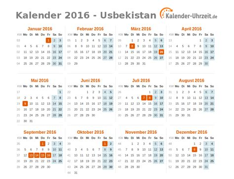 Kalender 2016 Jahres Bersicht Feiertage 2016 Usbekistan Kalender 220 Bersicht