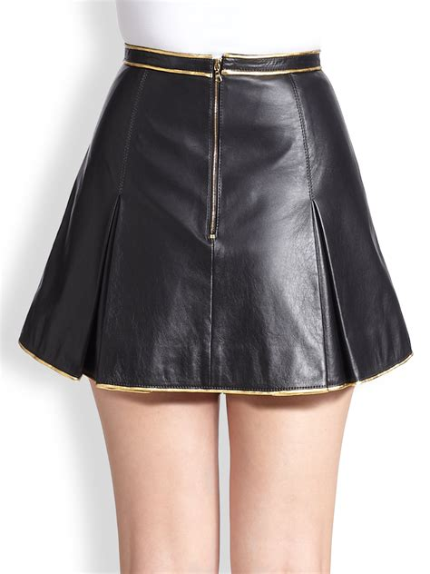 marc metallic piped pleated leather mini skirt in