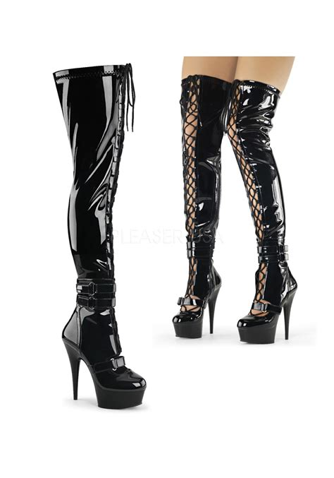 thigh high boots 6 inch heels 6 inch heel front lace up thigh high boot side zip ebay