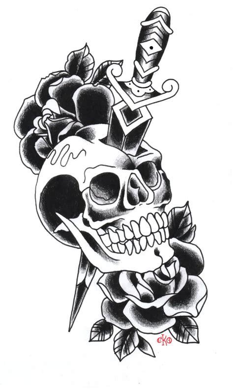 black rose skull tattoo designs black flowers and dagger skull design
