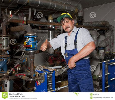 Plumbing Of Thumb by Plumber Giving Thumb Up Royalty Free Stock Images Image