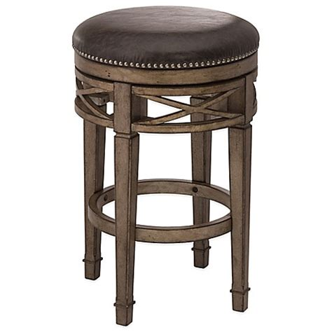 Silver Swivel Bar Stools by Buy Hillsdale Chesterfield Wood Swivel Backless Bar Stool
